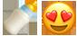 אימוגי' חייכן לבבות ובקבוק חלב
